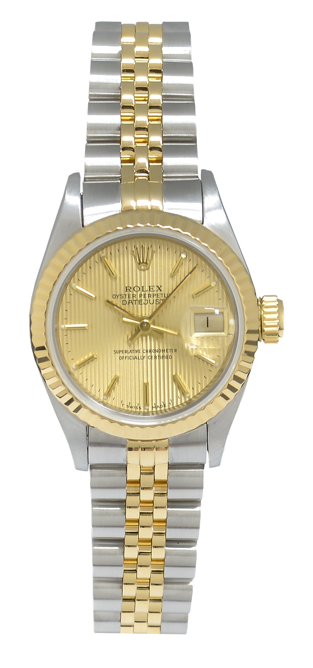 Rolex Datejust Ladies Steel & Gold watch with Champagne Pinstripe Dial