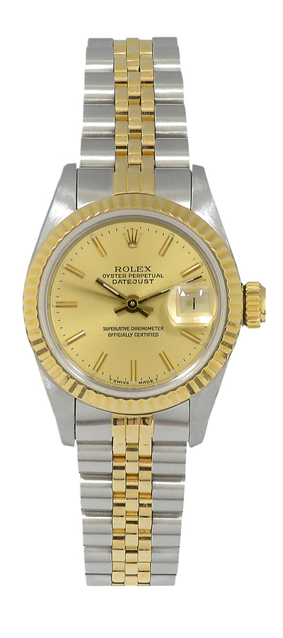 Rolex Datejust Ladies Steel & Gold Watch with Champagne Dial 69173 Paper