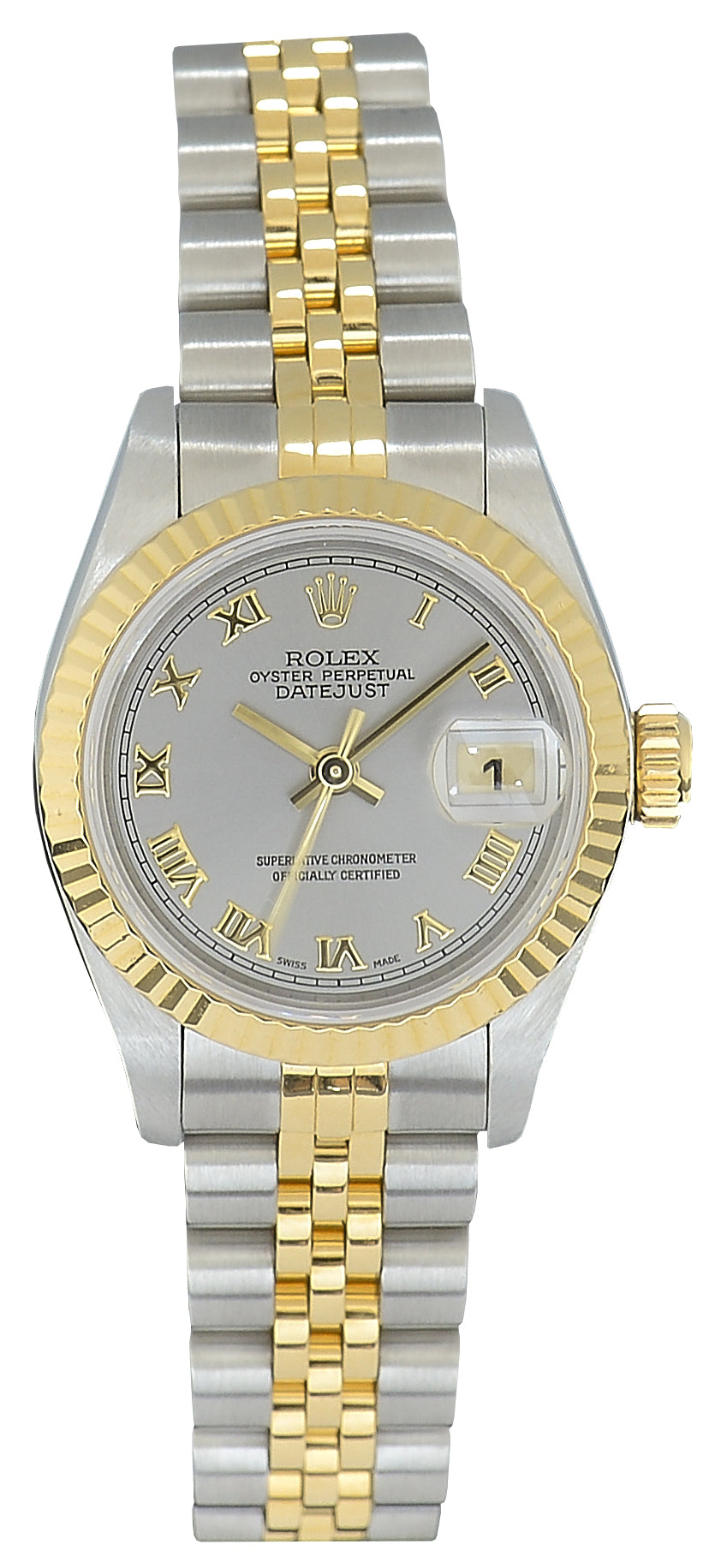 Rolex Datejust Ladies Bimetal Watch with Grey Dial 69173, Service Papers