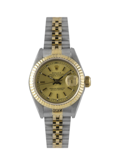Rolex Datejust Ladies Watch Steel & Gold Champagne Dial 69173, Papers