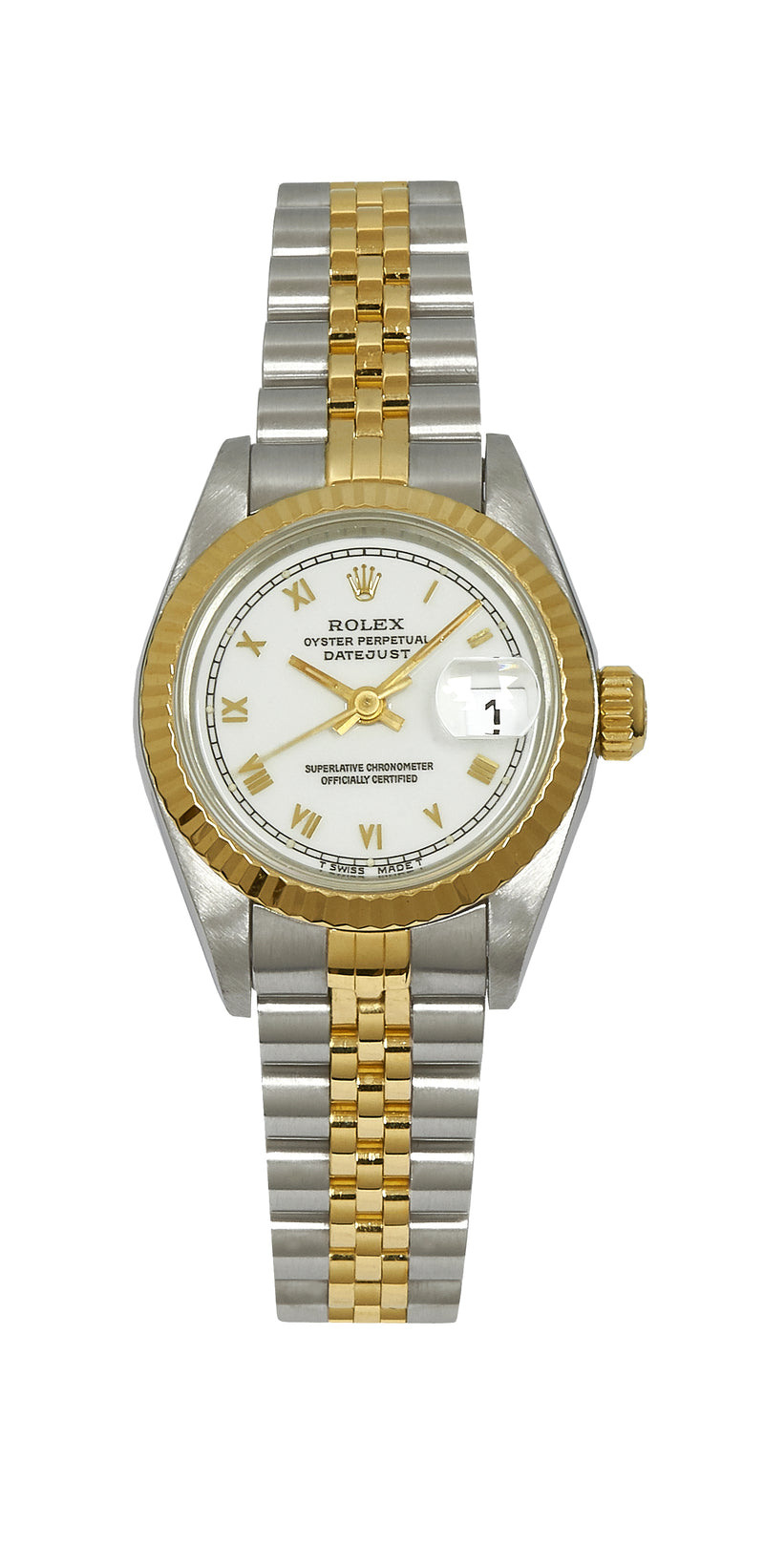 Rolex Ladies Datejust Steel & Gold, White Roman Numeral Dial. Ref: 69173