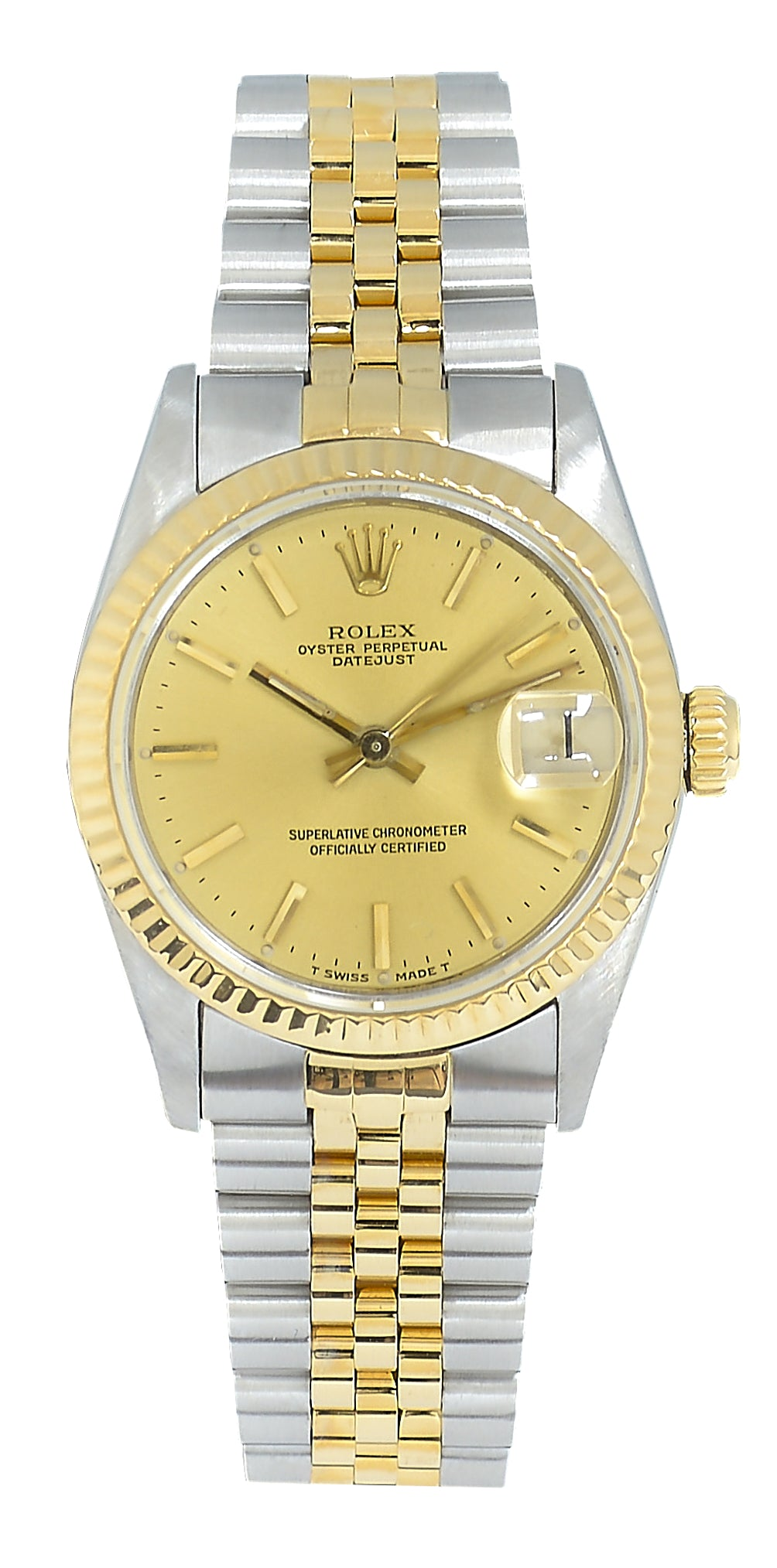 Rolex Datejust Midsize Watch Steel & Gold with Champagne Dial Ref: 68273