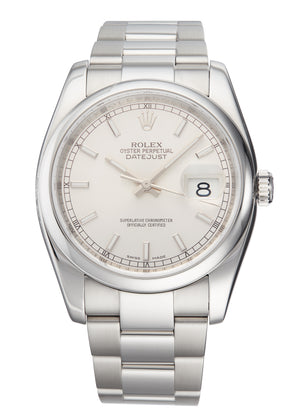 Rolex Datejust 36 Silver Baton  Dial, Ref: 116200 (B&P and Service Papers)