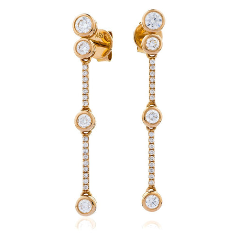 18ct Rose Gold 4 Stone Diamond Bubble Drop Earrings 1.60ct