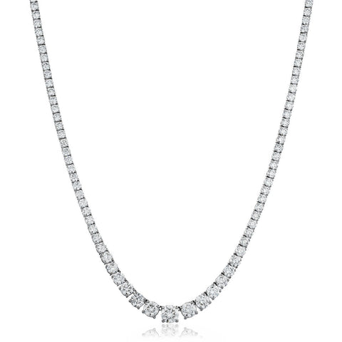 18ct White Gold Diamond Graduated Tennis Necklace 7.35ct