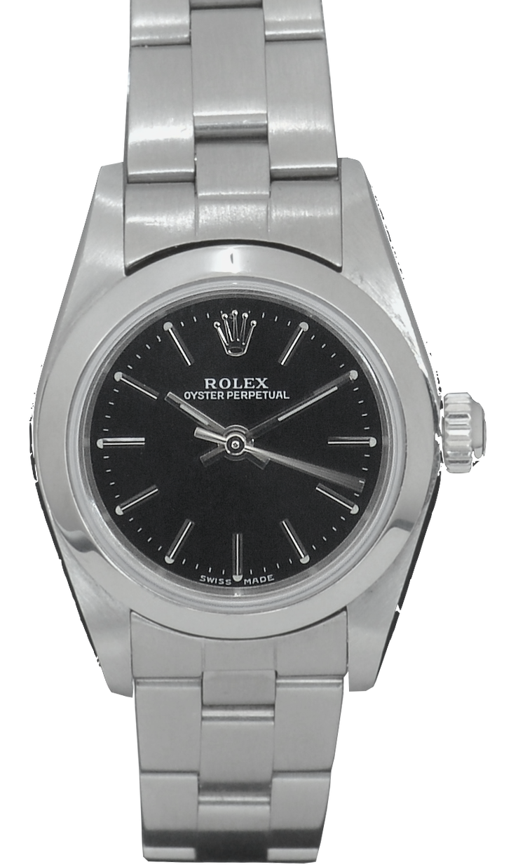Rolex Oyster Perpetual Ladies Watch with Black Dial, Ref: 76080