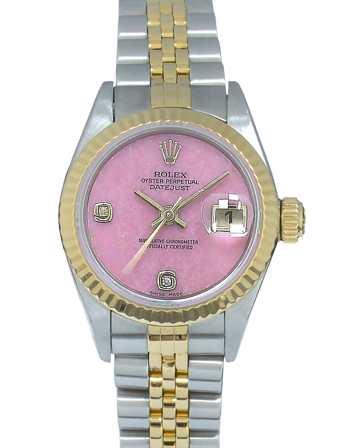 Rolex Datejust Bimetal with Coral Factory-Set Diamond Dial, Papers