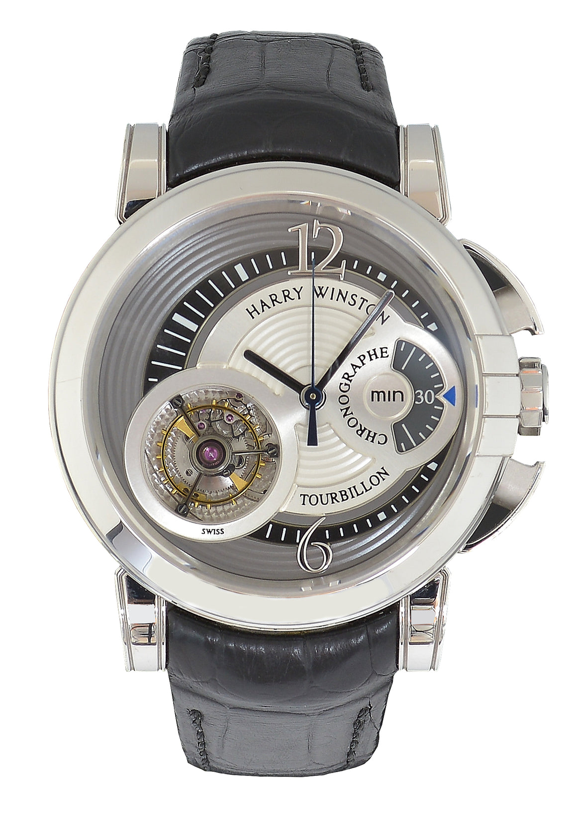 Harry Winston White Gold Midnight Tourbillon Chronograph Watch, 450-MMTC42W
