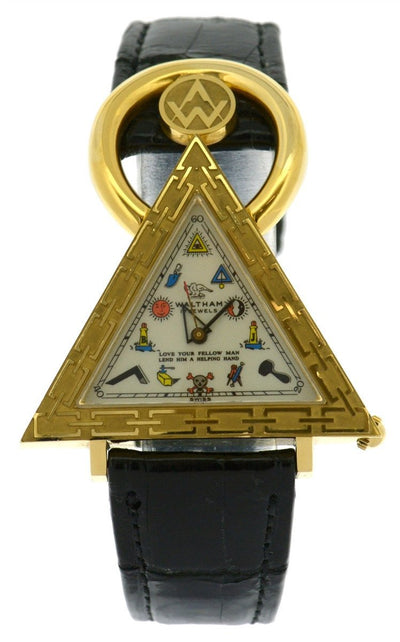 Waltham 18k Masonic Triangle Watch