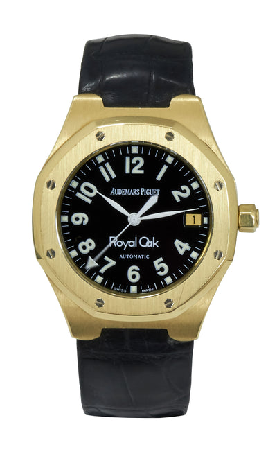 Audemars Piguet Royal Oak Yellow Gold, Black Arabic Dial (Papers)