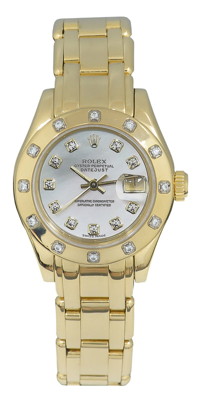 Rolex Lady-Datejust Pearlmaster Watch, Yellow Gold, MOP Diamond Dial