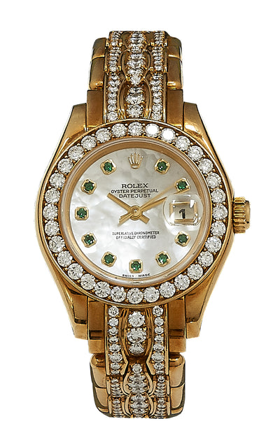Ladies Datejust Pearlmaster, Diamond Bezel/Dial, MOP Emerald Dial