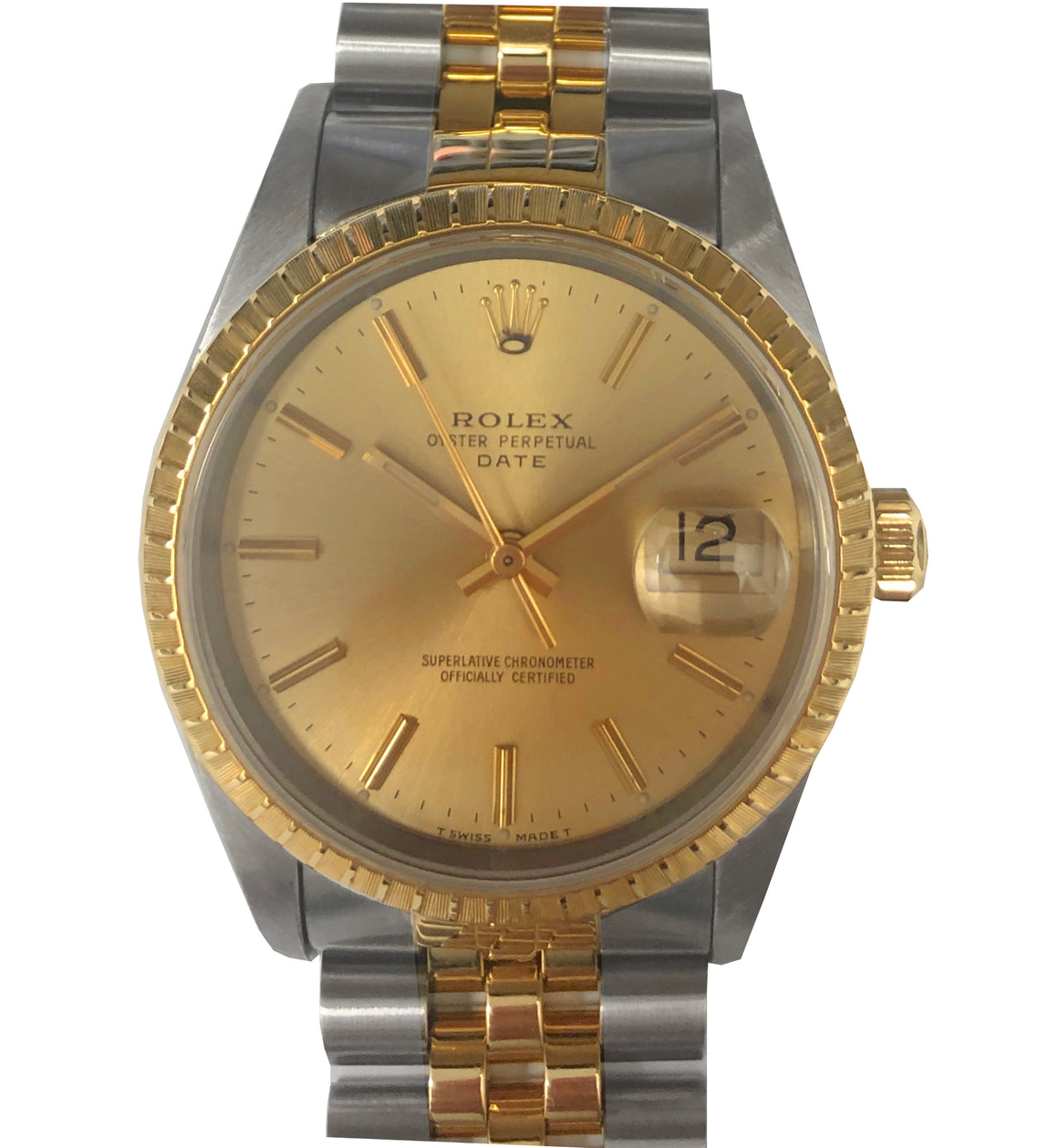 Rolex Steel & Gold Date, Champagne Dial. Ref: 15233