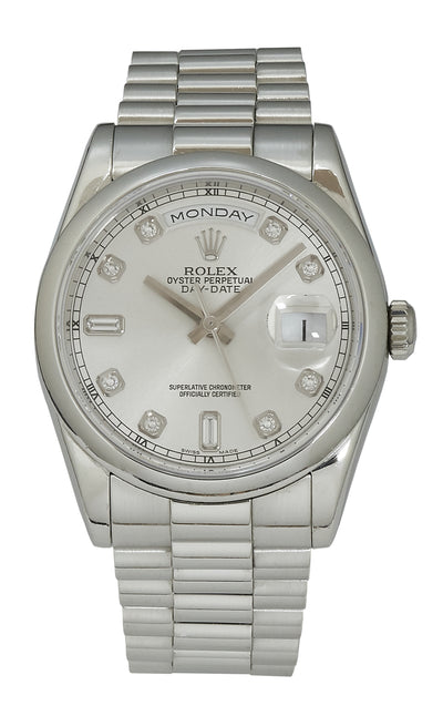 Rolex Day-Date 36 Platinum, Silver Diamond Dial B&P 118206