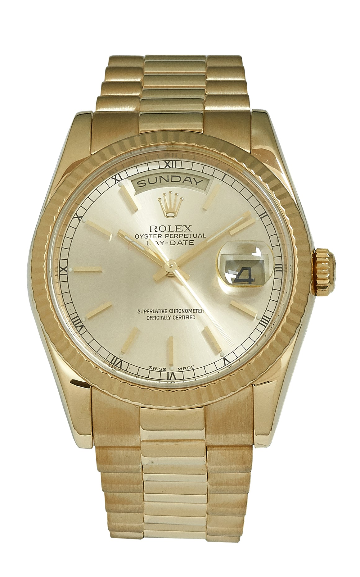 Rolex Yellow Gold Day-Date 36, Box & Papers (118238)
