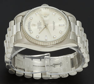 Rolex Day-Date 36 White Gold, Silver Diamond Dial. Ref: 18039