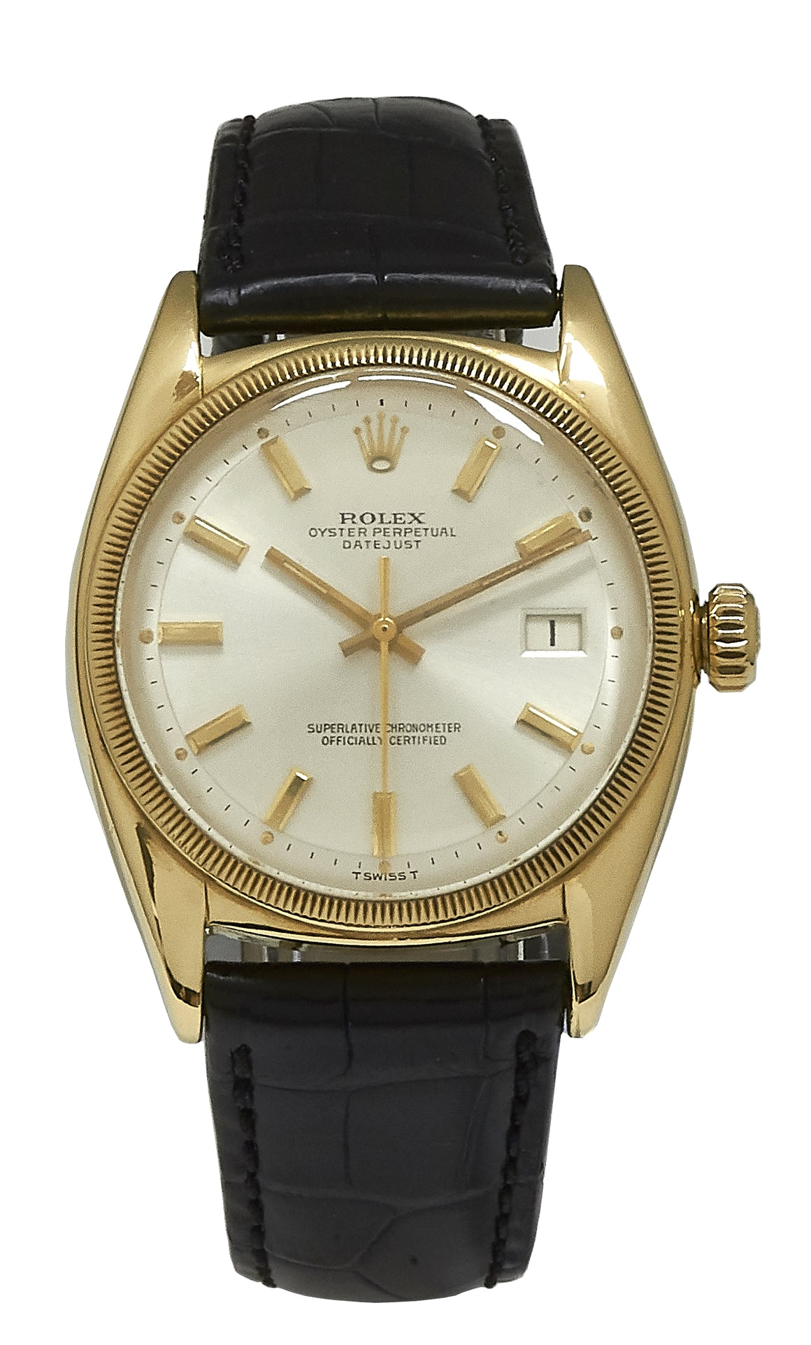 Rolex 18k Datejust Bubble Back, Silver Dial, Ref: 6105