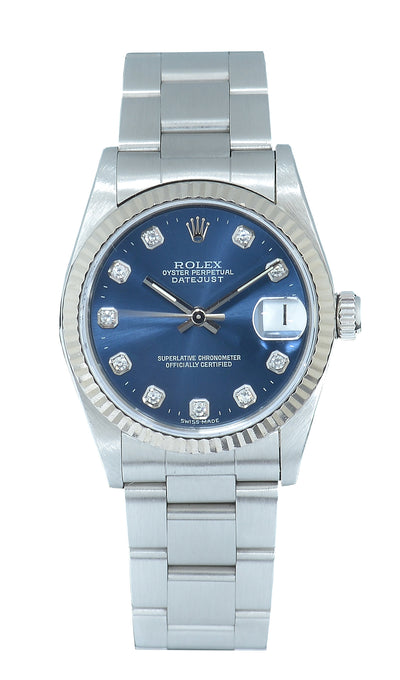 Rolex Datejust Steel with Blue Factory Diamond Dial, 68274 -Papers