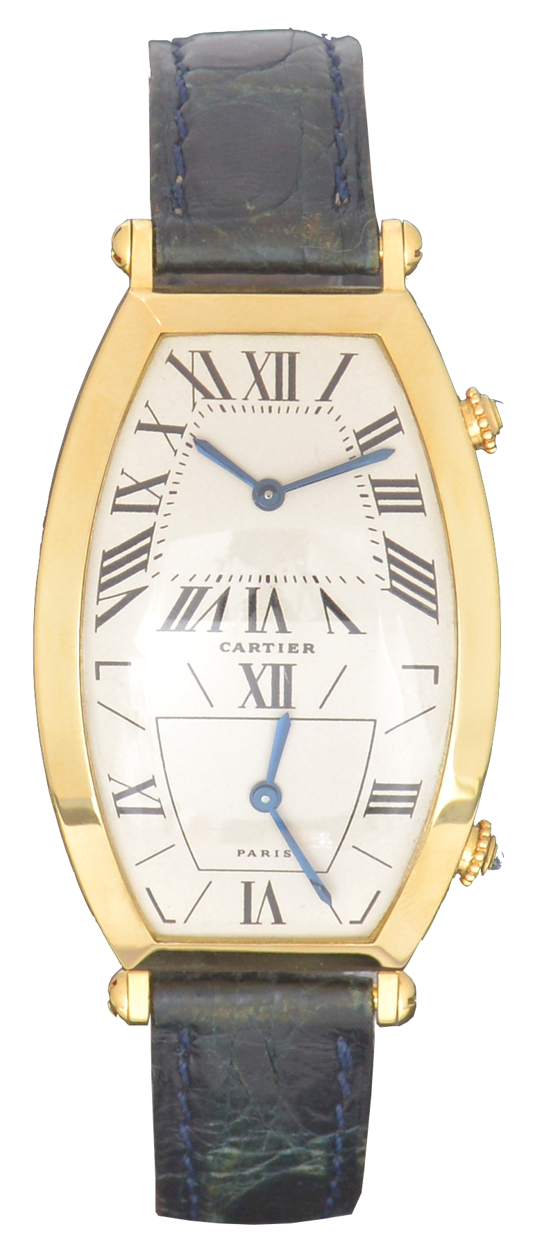 Cartier Yellow Gold Tonneau Dual Time Zone, Service Papers