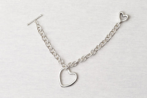 Sterling silver heart with matching toggle