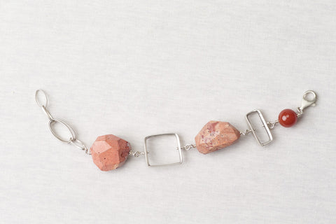 Mexican fire opal bracelet with insets and chain
