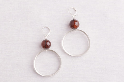 Large wired hoops with stone