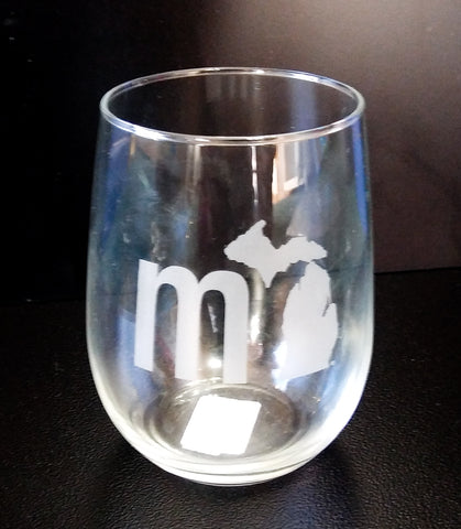 Michigan Stemless Wine Glass