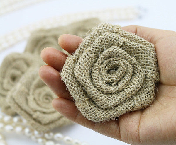 Handmade Burlap Jute Roses With Lace Flowers Wedding Decor Duane