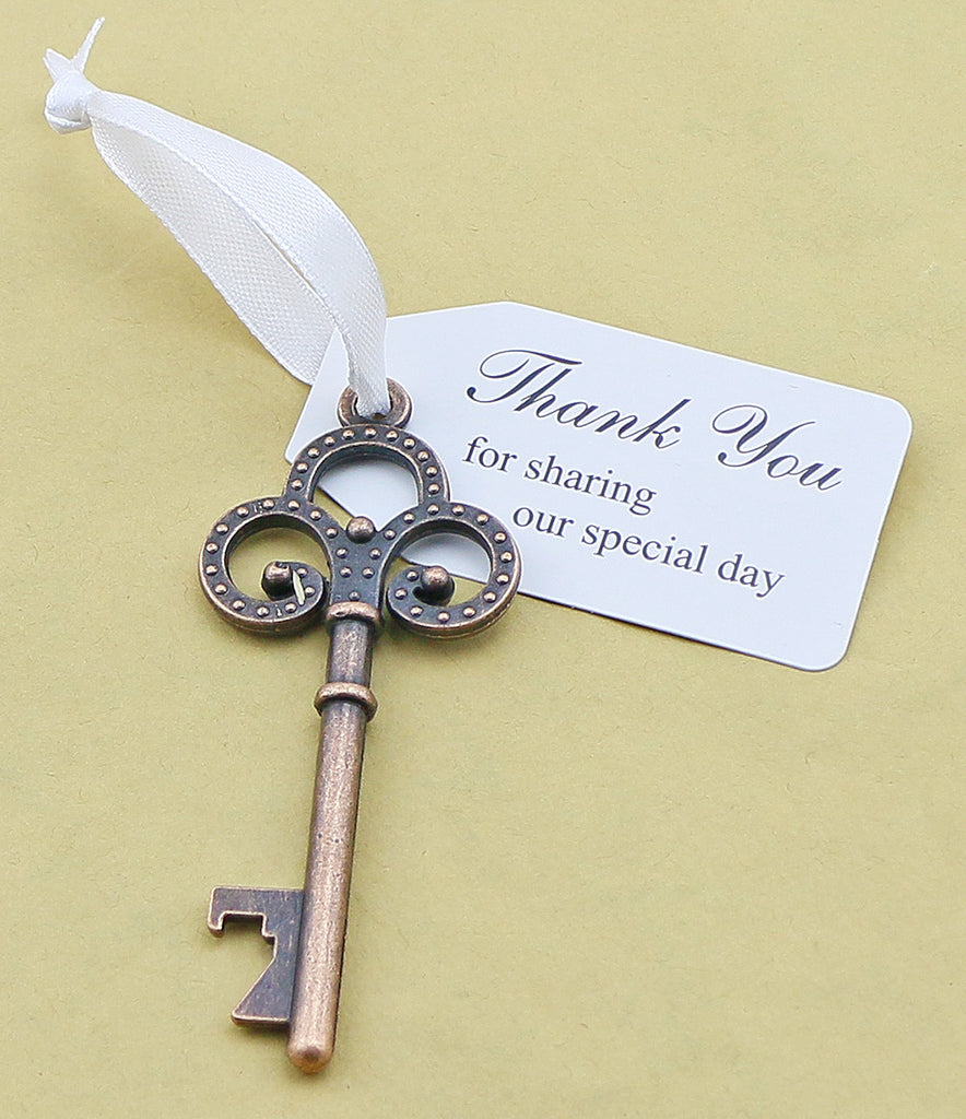 Wedding Favor Skeleton Key Bottle Opener And Thank You For Sharing Tag Ribbon