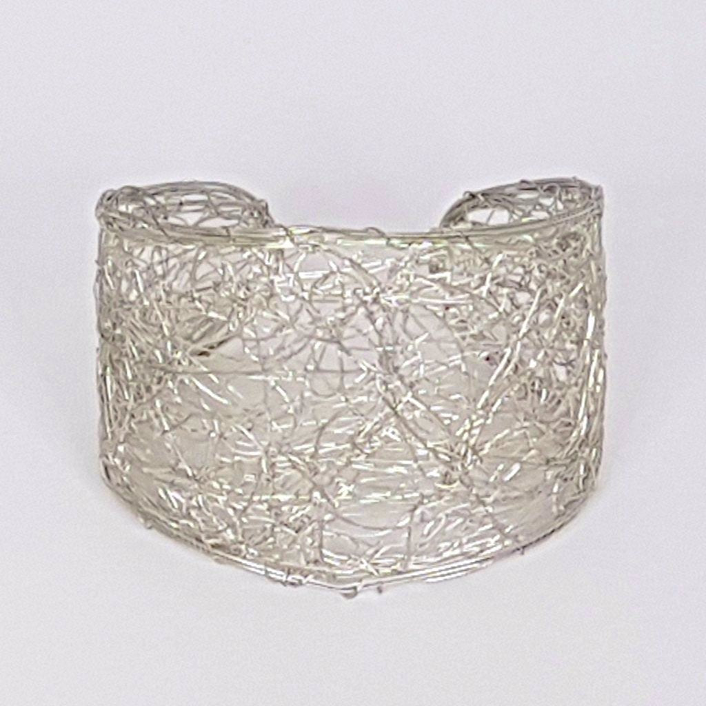 Madhuri Wire Art Cuff Bangle - Silver