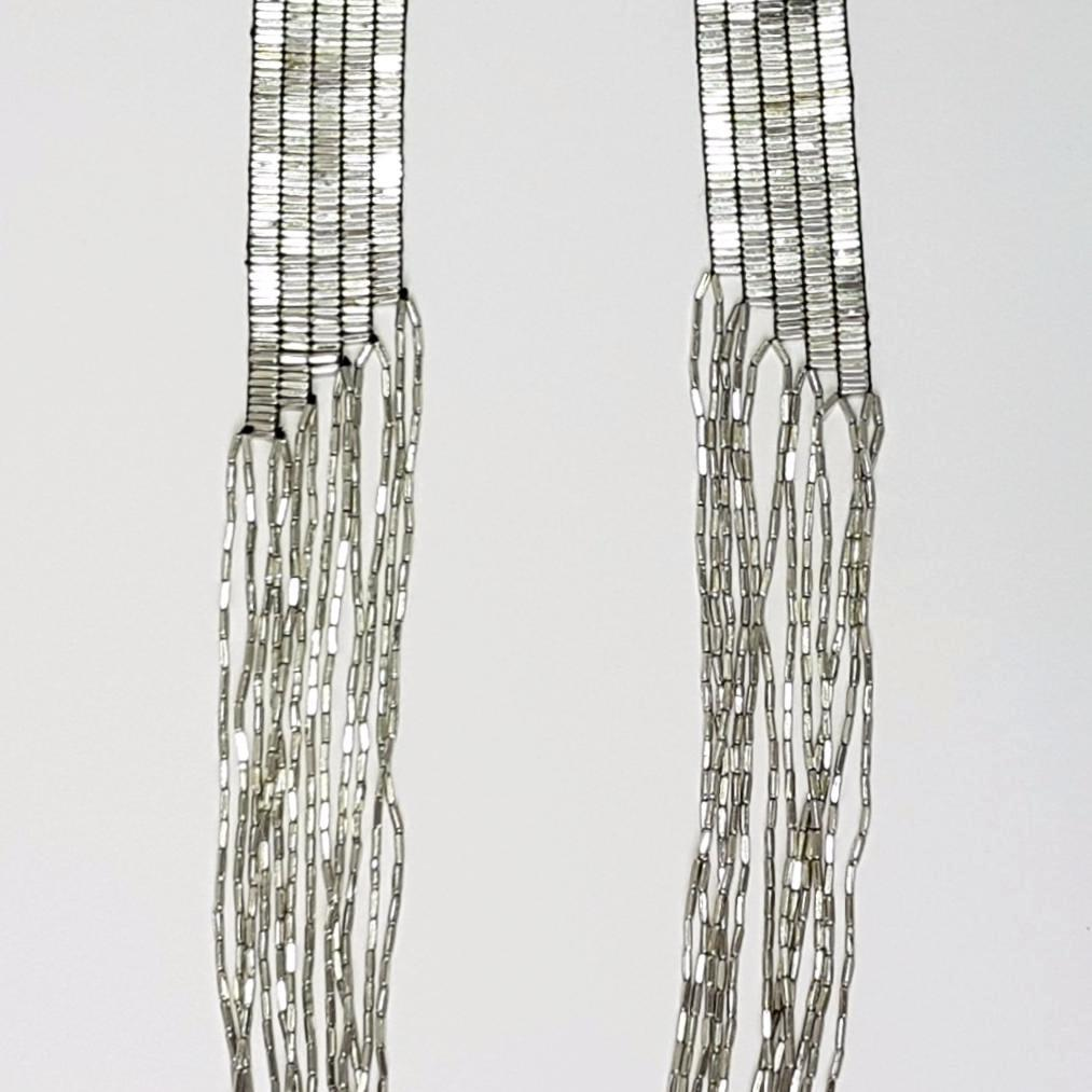 hot haveli annalise long cascading silver necklace close up