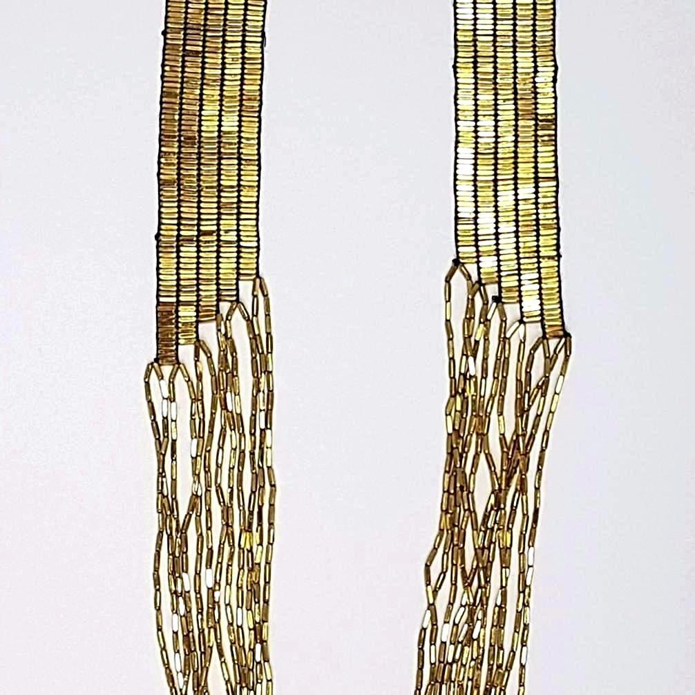 hot haveli annalise long cascading gold necklace close up