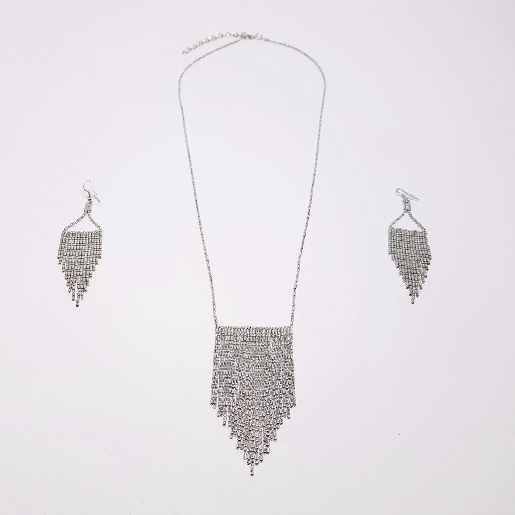 hot haveli nabila silver tassel necklace medium length earrings