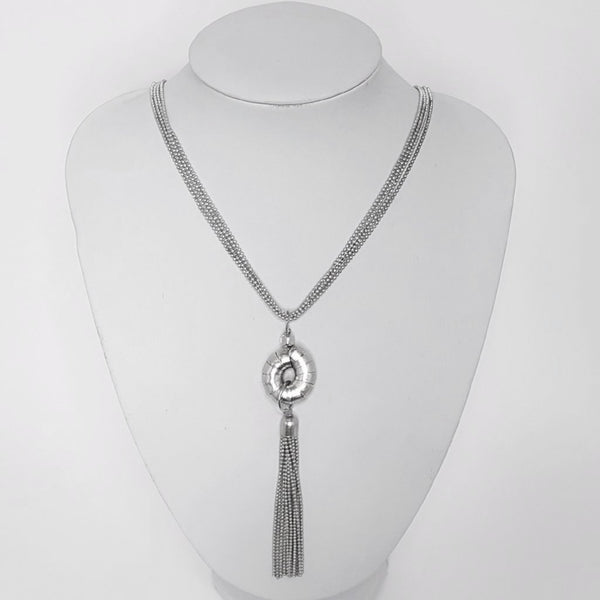 hot haveli raakel silver tassel long necklace