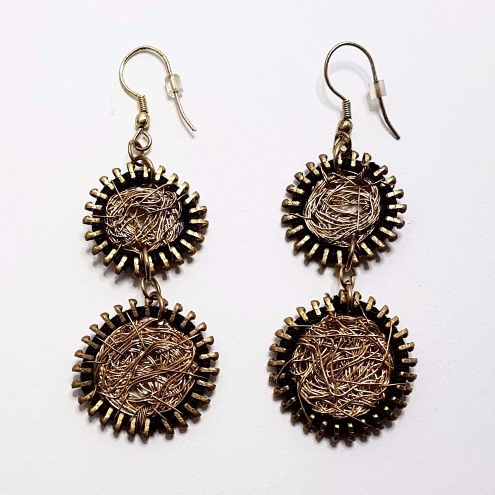 hot haveli willow wire art zip drop earrings back