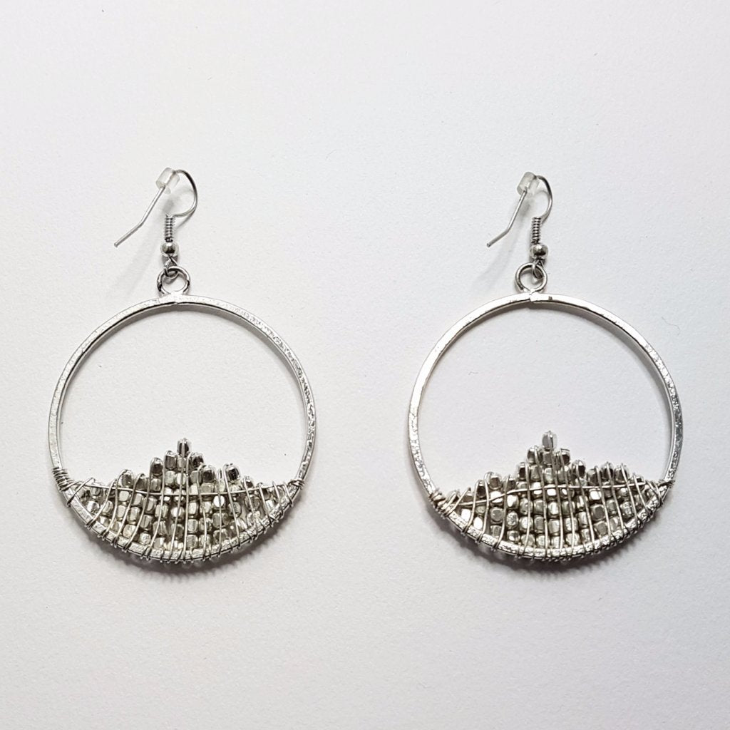 hot haveli zahra hoop snowdrop silver earrings back