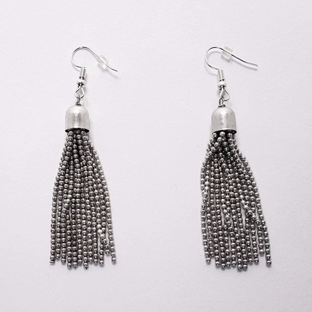 hot haveli raakel silver tassel earrings back