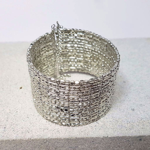 hot haveli zahra silver shimmery cuff bangle adjustable styled