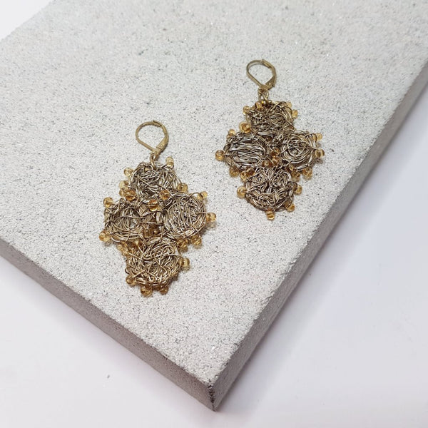 Madhuri Wire Art Drop Earrings - Gold