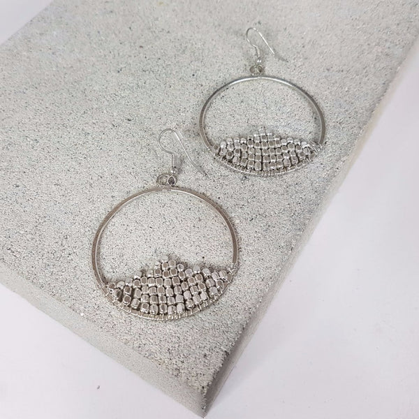 hot haveli zahra hoop snowdrop silver earrings