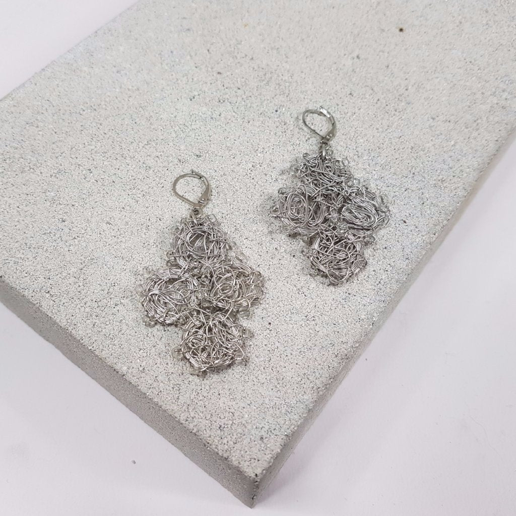 Madhuri Wire Art Drop Earrings - Silver