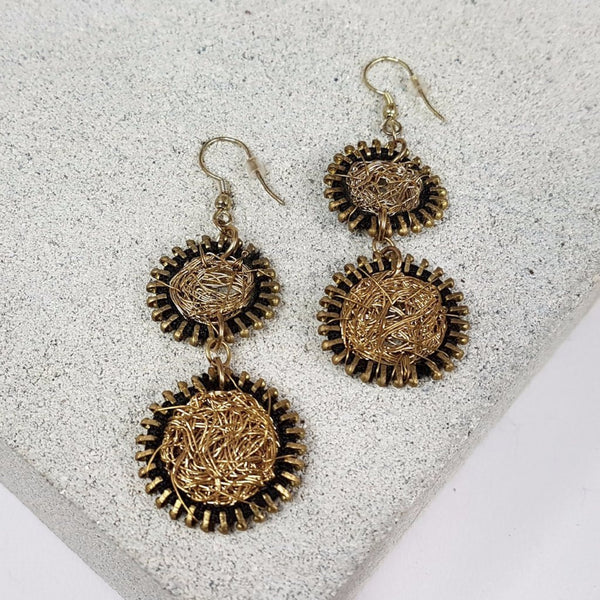 hot haveli willow wire art zip drop earrings