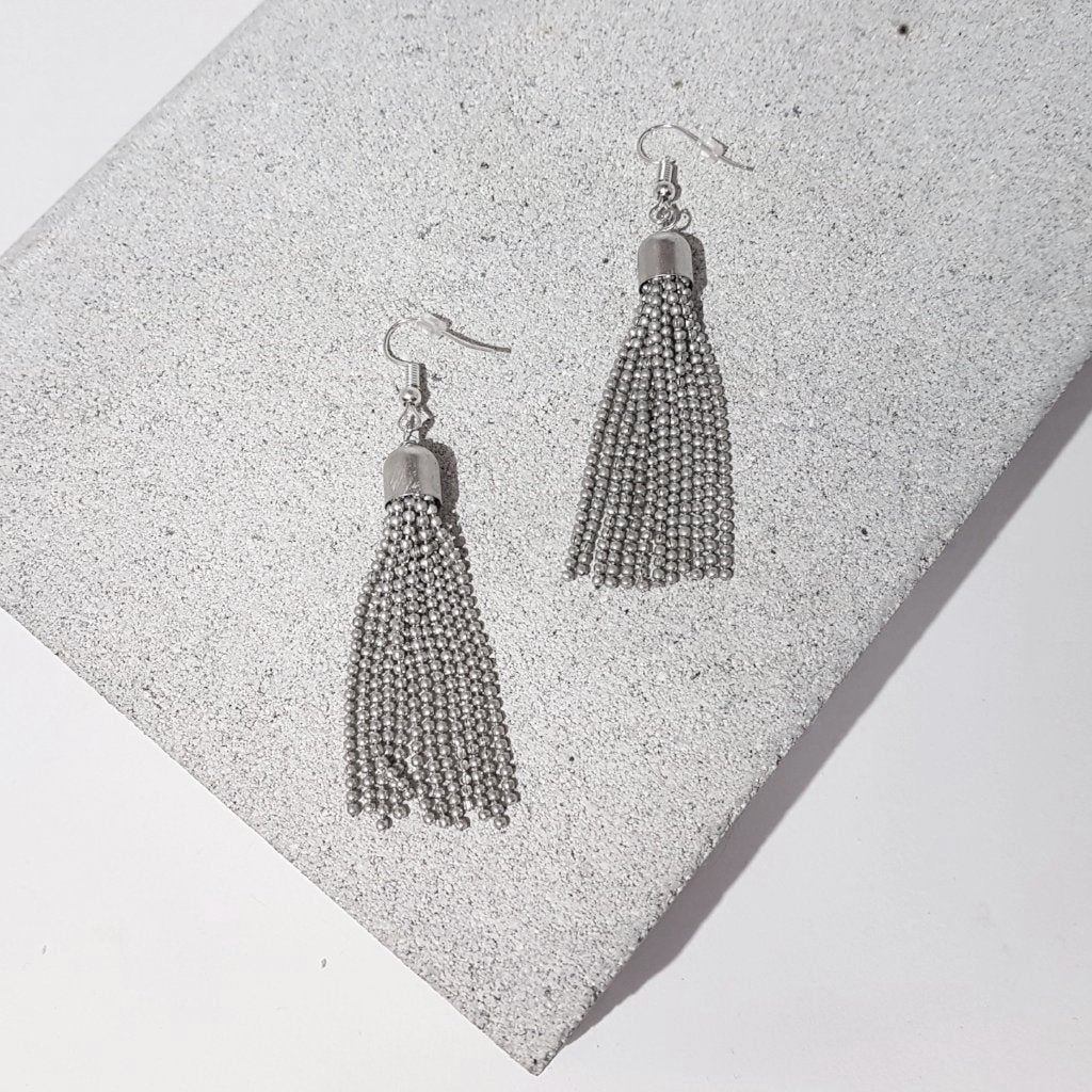 hot haveli raakel silver tassel earrings