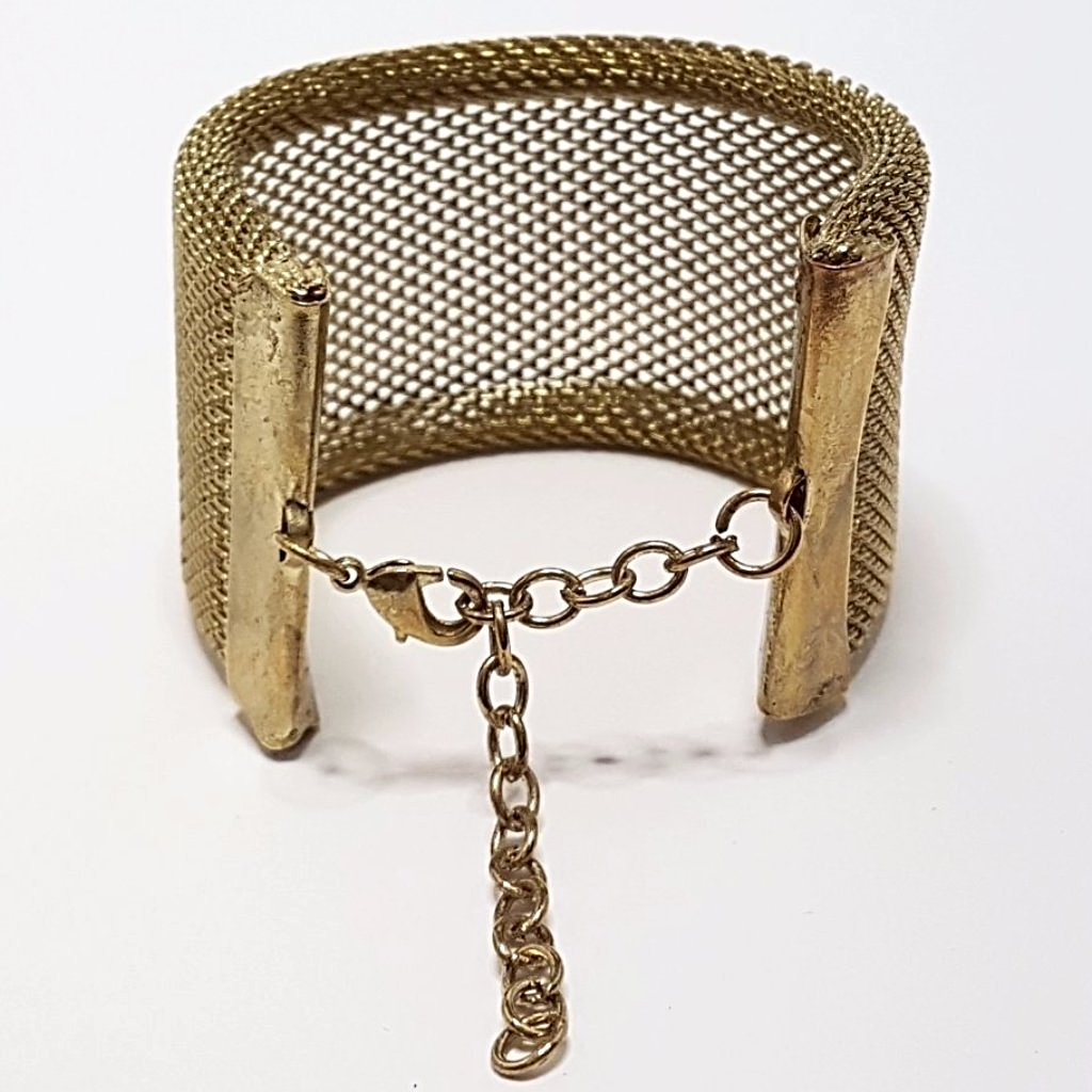 hot haveli xanthe chainmail adjustable wrap cuff bangle gold back