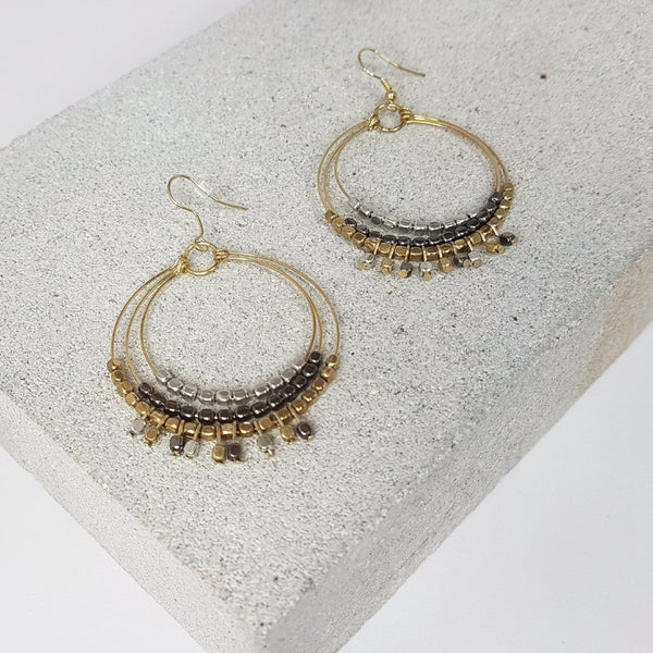 hot haveli shakira gold multi metal hoops styled