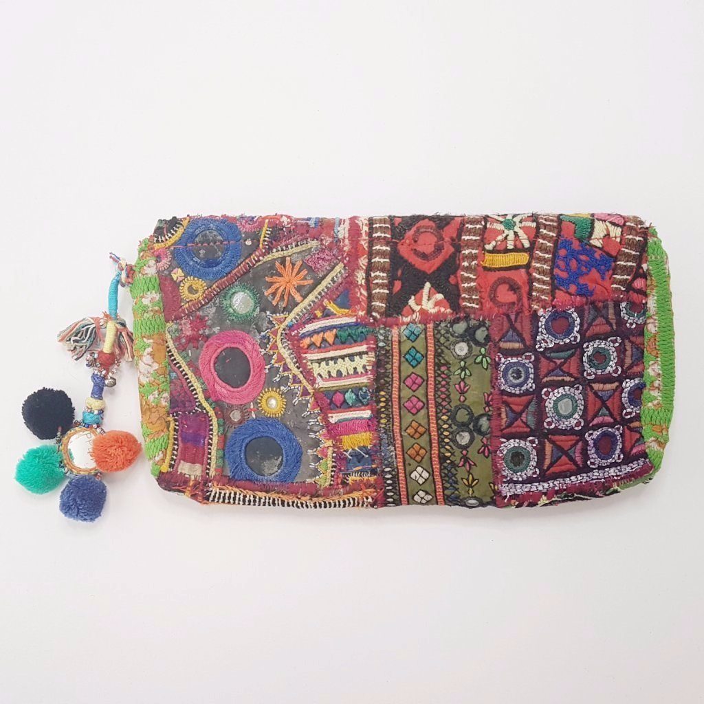 hot haveli llisa vintage tribal clutch bag with pompoms