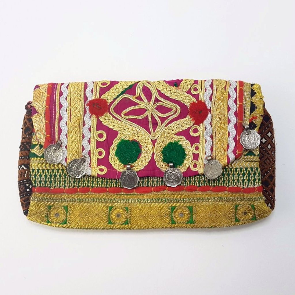 hot haveli miquela vintage embroidered clutch bag front