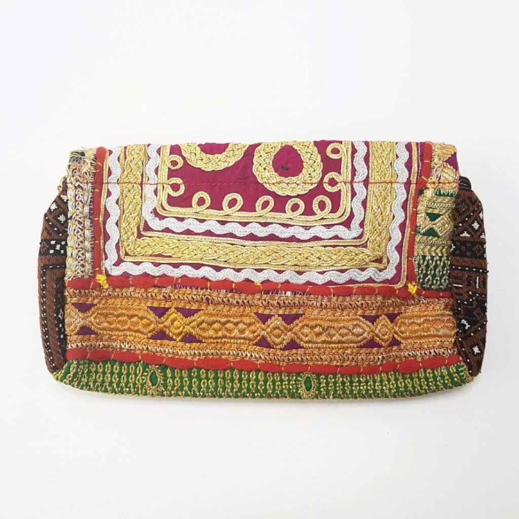 hot haveli miquela vintage embroidered clutch bag back