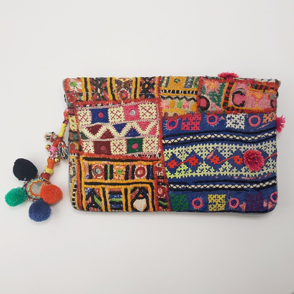hot haveli vincenta vintage embroidered clutch with pompoms 3