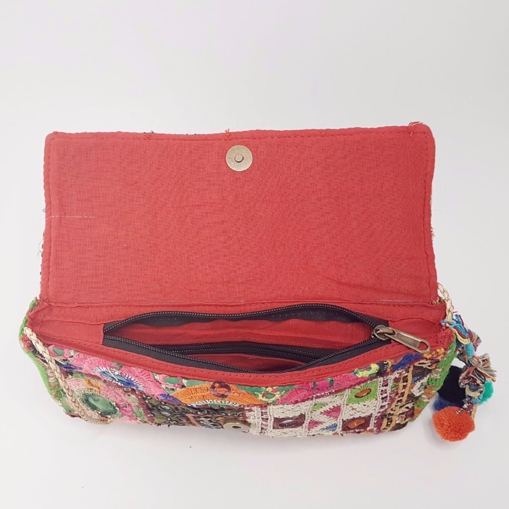 hot haveli llisa vintage tribal clutch bag with pompoms inside